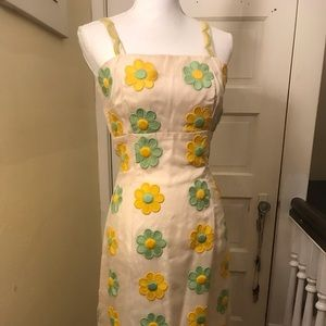 Vintage daisy embroidered dress